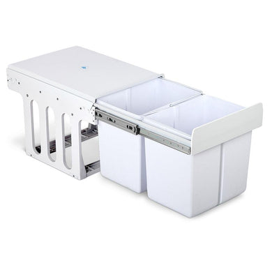 Set of 2 15L Twin Pull Out Bins - White - Factory To Home - Home & Garden