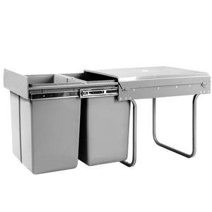 Set of 2 20L Twin Pull Out Bins - Grey - Factory To Home - Home & Garden