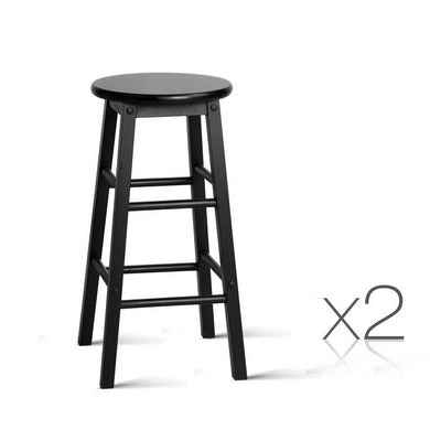 Set of 2 Beech Wood Backless Bar Stools - Black - Factory To Home - Furniture