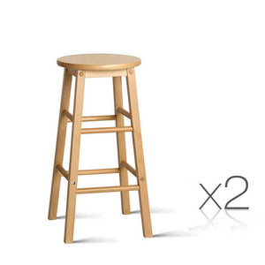 Set of 2 Beech Wood Backless Bar Stools - Natural - Factory To Home - Furniture