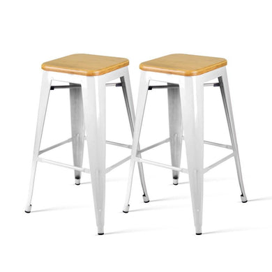Set of 2 Metal and Bamboo Bar Stools - White - Factory To Home - Furniture