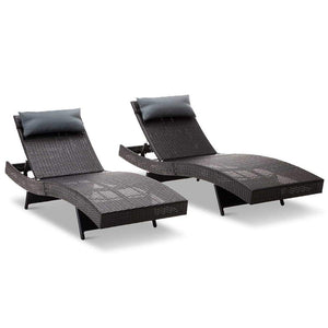 Set of 2 Outdoor Sun Lounges - Black - Factory To Home - Furniture