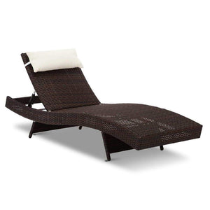 Set of 2 Outdoor Sun Lounges - Brown - Factory To Home - Furniture