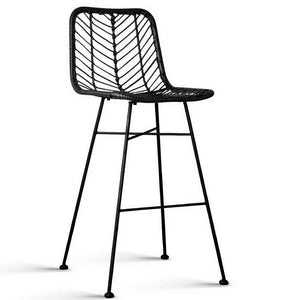 Set of 2 PE Wicker Bar Stools - Black - Factory To Home - Furniture