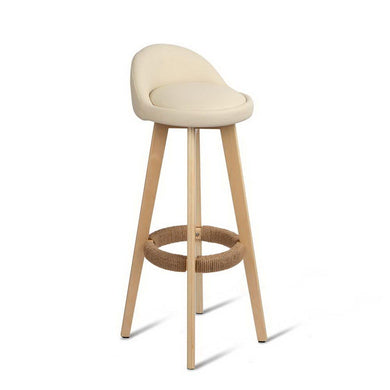 Set of 2 PU Leather Bar Stools - Beige - Factory To Home - Furniture