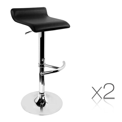 Set of 2 PU Leather Bar Stools - Black - Factory To Home - Furniture