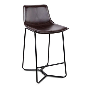 Set of 2 PU Leather Bar Stools - Metal Black - Factory To Home - Furniture