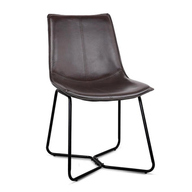 Set of 2 PU Leather Dining Chair - Walnut - Factory To Home - Furniture