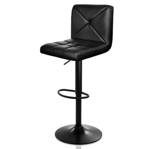 Set of 2 PU Leather Gas Lift Bar Stools - Black - Factory To Home - Furniture