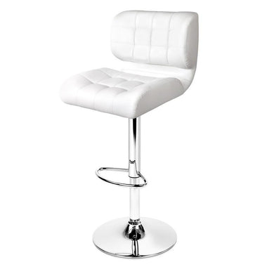 Set of 2 PU Leather Gas Lift Bar Stools - White - Factory To Home - Furniture