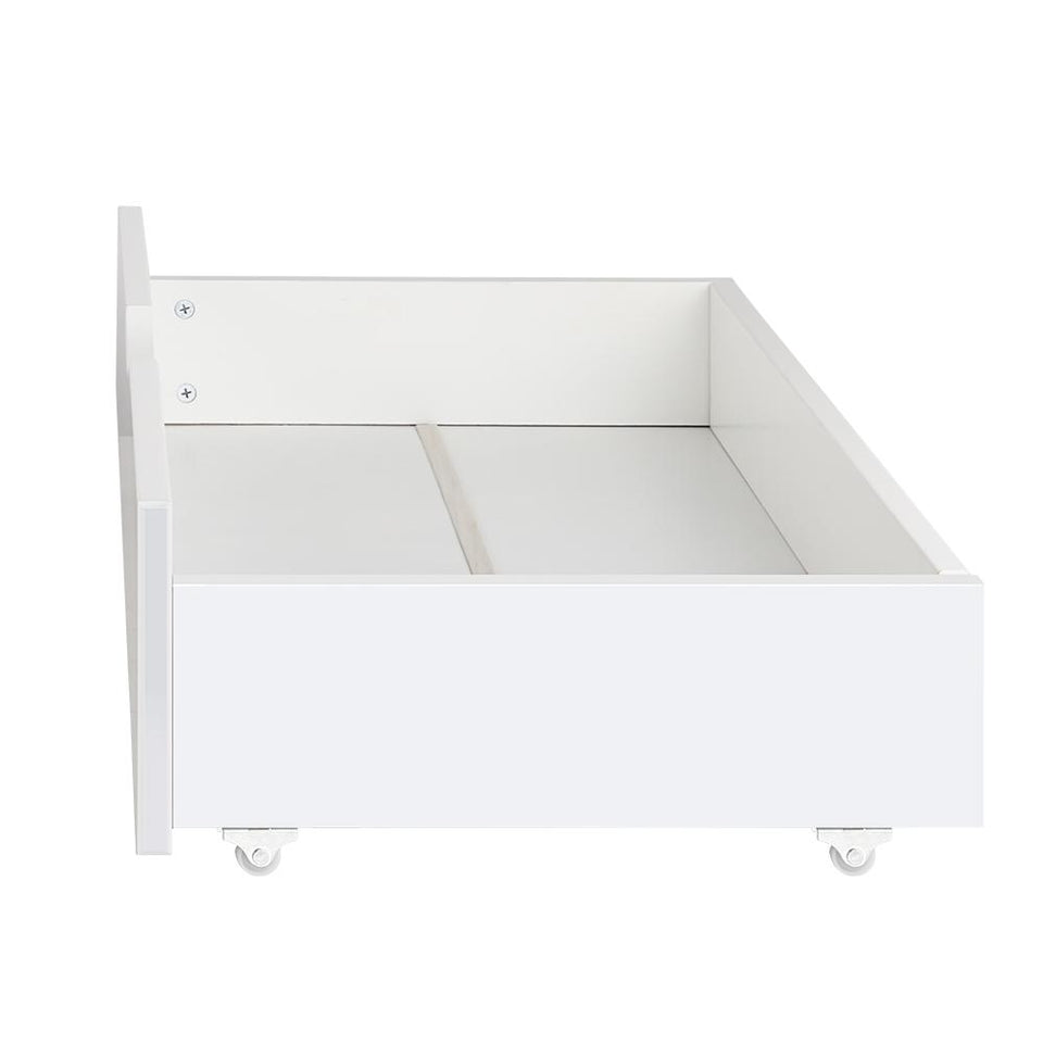 Set of 2 Single Size Wooden Trundle Drawers - White - Factory To Home - Furniture