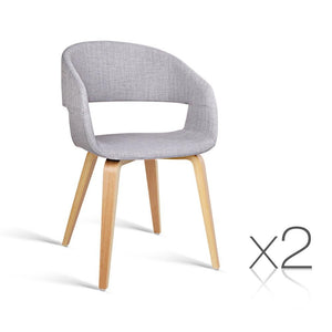 Set of 2 Wood and Fabric Dining Chairs - Light Grey - Factory To Home - Furniture