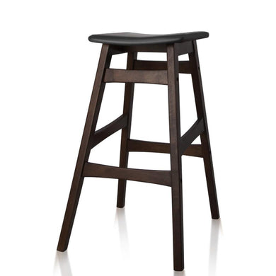 Set of 2 Wooden and Padded Bar Stools - Black - Factory To Home - Furniture
