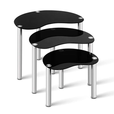 Set Of 3 Glass Coffee Tables - Black - Factory To Home - Furniture