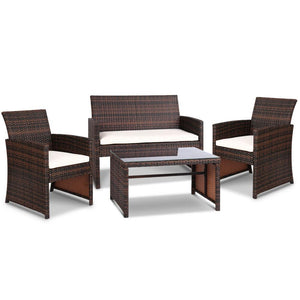 Set of 4 Outdoor Rattan Chairs & Table - Brown - Factory To Home - Furniture
