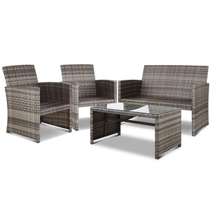 Set of 4 Outdoor Rattan Chairs & Table - Grey - Factory To Home - Furniture