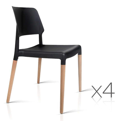 Set of 4 Wooden Stackable Dining Chairs - Black - Factory To Home - Furniture