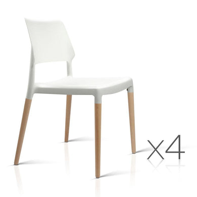 Set of 4 Wooden Stackable Dining Chairs - White - Factory To Home - Furniture