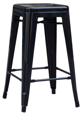Set of 4 x 66cm Tolix Retro Reproduction Cafe Bar Stools - Black - Factory To Home - Furniture