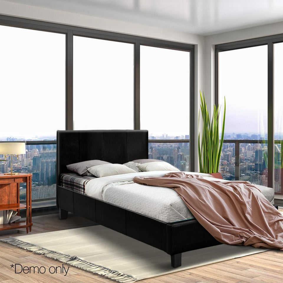 Single Size PU Leather Bed Frame - Black - Factory To Home - Furniture