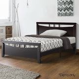 Single Size Wooden Bed Frame - Dark Cherry - Factory To Home - Furniture