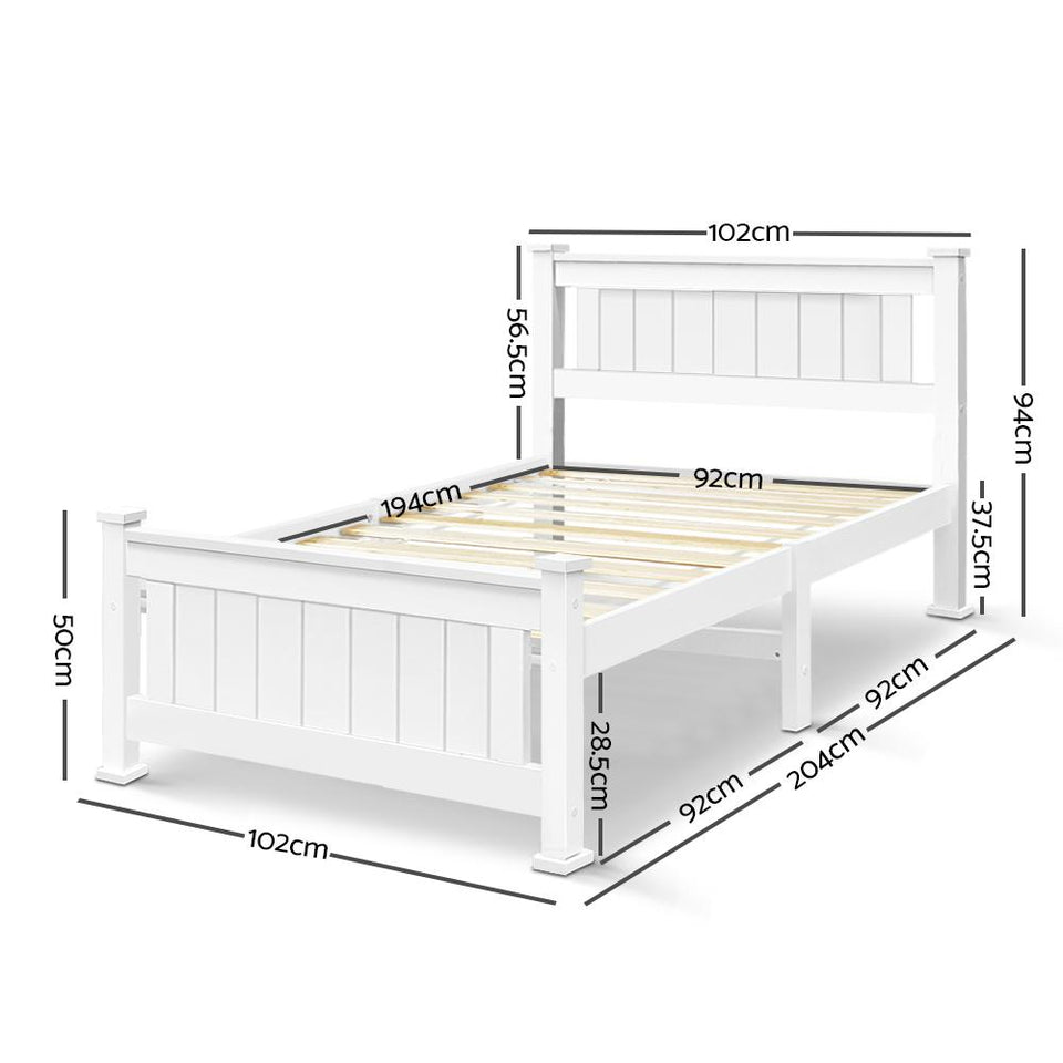 Single Size Wooden Bed Frame - White - Factory To Home - Furniture