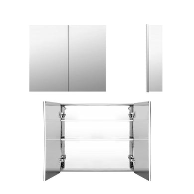 Stainless Steel Bathroom Mirror Cabinet 750x720mm Silver - Factory To Home - Home & Garden