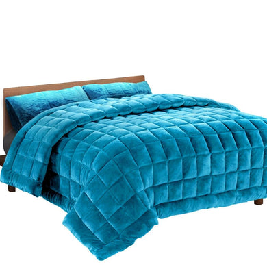 Teal Faux Mink Quilt - Super King - Factory To Home - Home & Garden