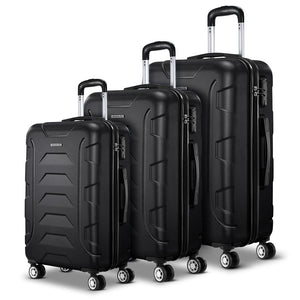TSA 3PCS Carry On Luggage Sets - Black - Factory To Home - Home & Garden