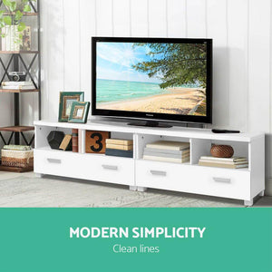TV Stand Entertainment Unit with Drawers - White - Factory To Home - Furniture