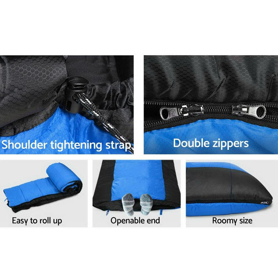 Twin Set Thermal Sleeping Bags - Blue & Black - Factory To Home - Outdoor