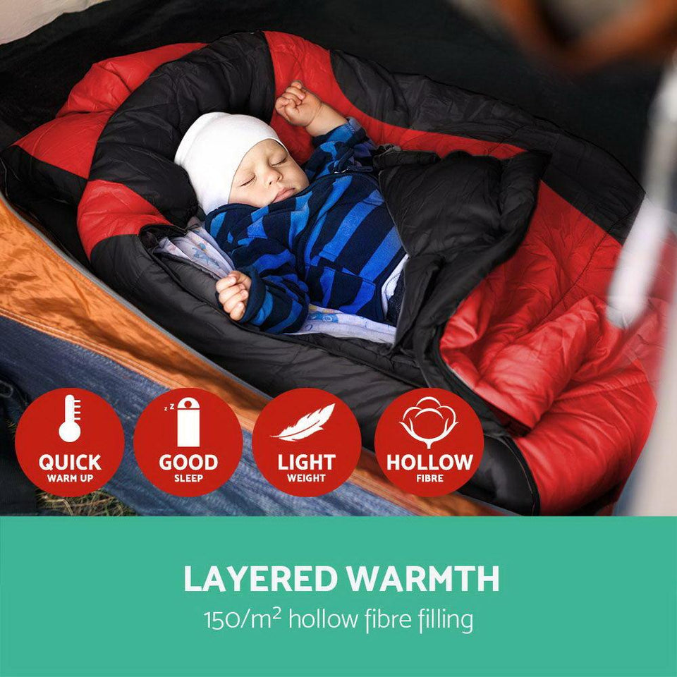 Twin Set Thermal Sleeping Bags - Red & Black - Factory To Home - Outdoor