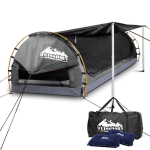 Weisshorn Double Swag Camping Swag Canvas Tent - Grey - Factory To Home - Outdoor