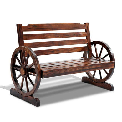 Wooden Wagon Wheel Bench - Brown - Factory To Home - Outdoor Decor
