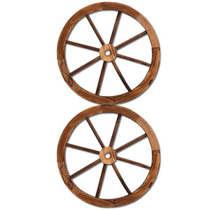 Wooden Wagon Wheel X2 - Factory To Home - Outdoor Decor