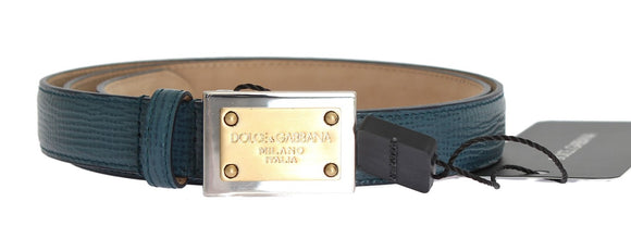 Blue Leather Gold Silver Buckle Belt