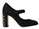 Black Brocade Crystal Gold Studded Shoes