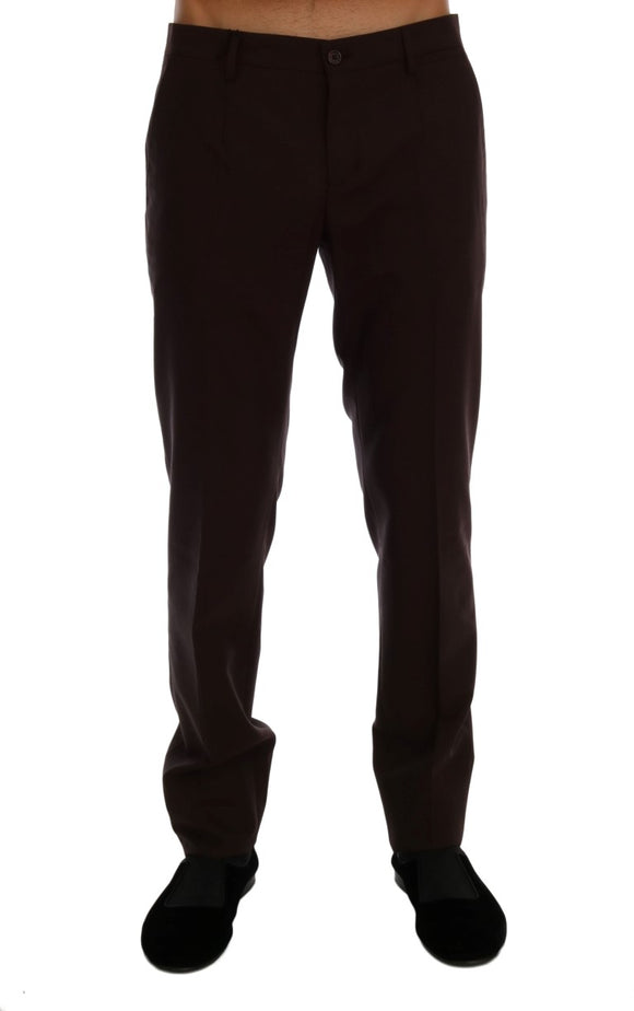 Purple Wool Stretch Formal Pants