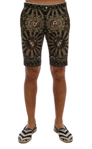 Black Green Cotton Carretto Print Shorts