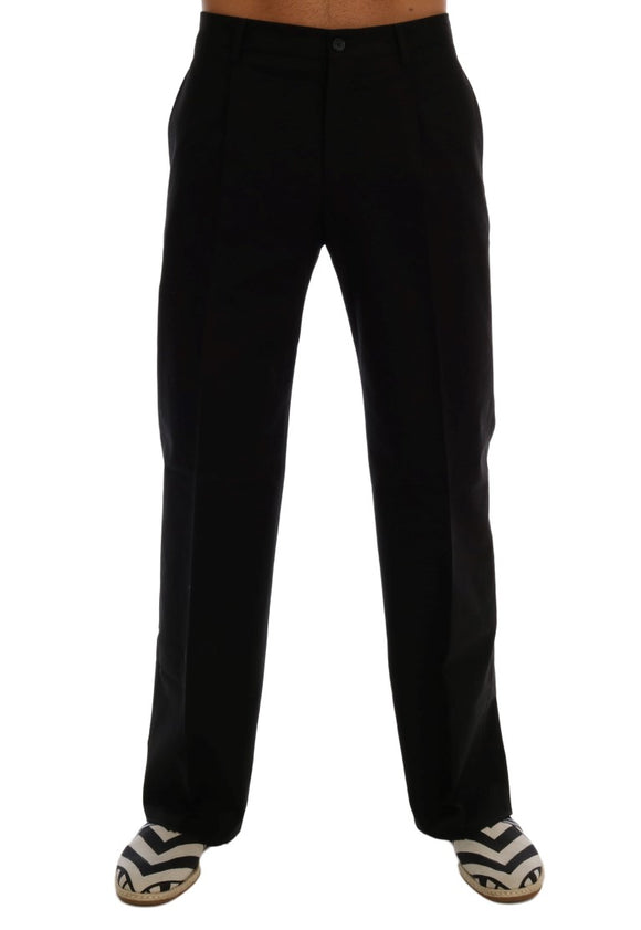 Black Cotton Stretch Dress Pants