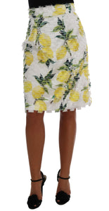Lemon Print Fringe Pencil Skirt
