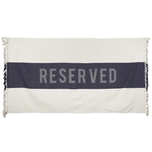 """Reserved"" Beach Towel In Natural/Black"