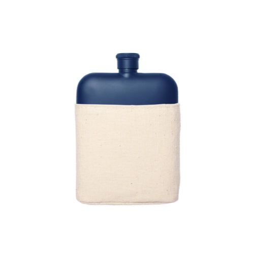Navy Stainless Steel Flask with Canvas Pouch