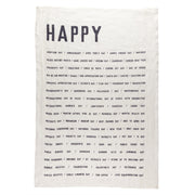 "Pure Linen Tea Towel ""Happy"" by Sir/Madam"