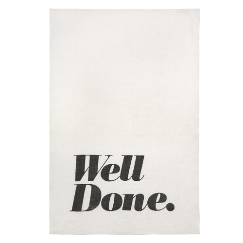 "Pure Linen Tea Towel ""Well Done"" by Sir/Madam"