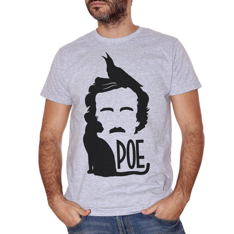 T-Shirt Edgar Allan Poe Horror Black Cat Crow - FAMOSI