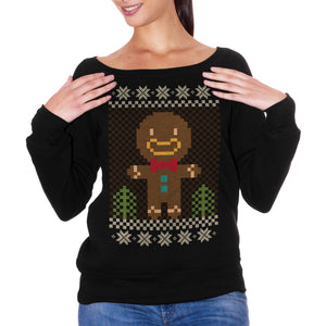FELPA FASHION DONNA CHRISTMAS-NATALE-BISCOTTO-OMINO-PAN-DI-ZENZERO-COOKIE-MAN