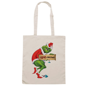 Light Gray Borsa Grinch I Love Christmas - Sand - FILM CucShop