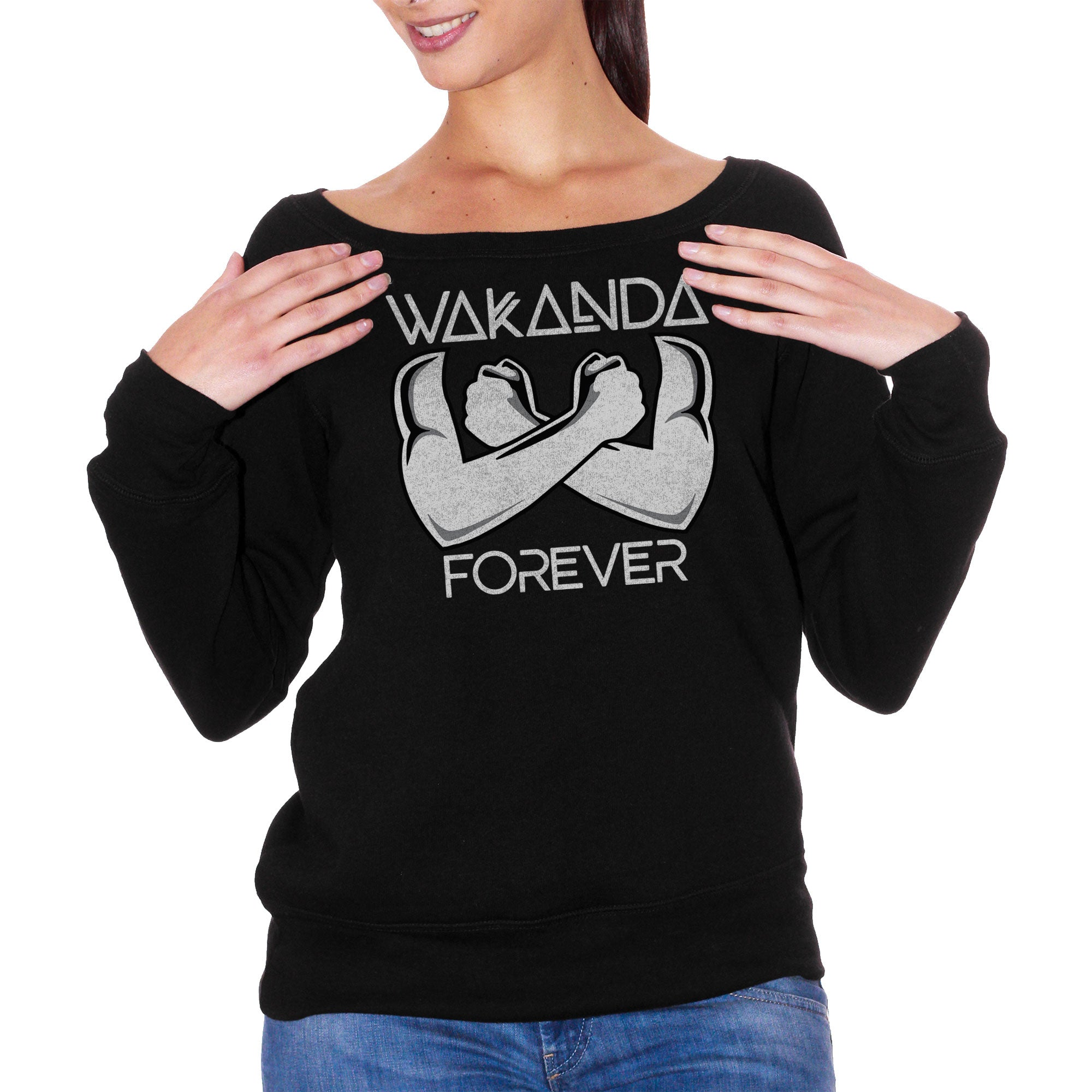 FELPA FASHION DONNA WAKANDA-FOREVER-SALUTO-GREET-BLACK-PANTHER