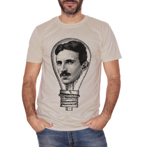T-Shirt Nikola Tesla Electric Lamp - FAMOSI